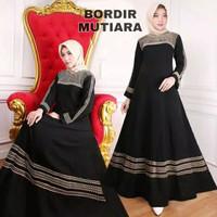 Baju Gamis Dress Muslim Abaya Arab Hitam Bordir bahan Jetblack saudi