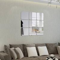 wall mirror arkilik kotak sticker cermin acyrlic wall square dekorasi