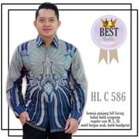 new kemeja batik baju kerja pria full furing solo alusan nyaman c 586 - Biru, M