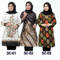 Baju batik wanita tunik lengan panjang 005