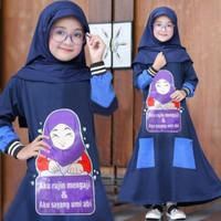 Gamis Syari Anak 7 10 tahun Azura Kids Navy Baju muslim anak perempuan