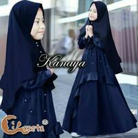 Gamis Syari Anak 7 9 tahun Kanaya Kids Navy Baju muslim anak perempuan