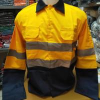 Baju Kerja Safety Proyek Kombinasi / Seragam Kerja Tambang Panjang