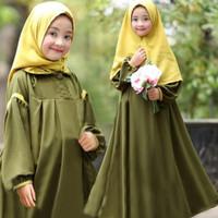 Gamis Syari Anak 8 11 tahun Odelia Kid Army Baju muslim anak perempuan
