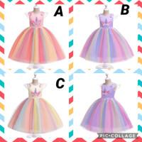 Unicorn rainbow dress. Baju anak cewek gaun tutu pesta pink