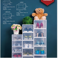 Box Rak Kotak Sepatu Import Transparan Premium Kokoh Tebal