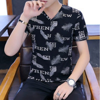 Manda Fashion - Baju Pria/Cowok T-Shirt V-Neck Motif Full Print Size L