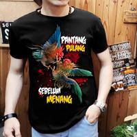 t-shirt atasan kaos pria gambar ayam pantang pulang