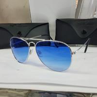 Kacamata sunglass RB Aviator warna gradasi lens biru