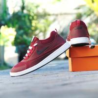 Sepatu Sneakers Nike Air Force Merah Hitam Casual Santai Pria Wanita