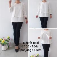 blouse wanita kantor atasan putih white blouse