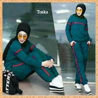 baju olahraga training pria wanita stelan jumbo atasan+celana toska