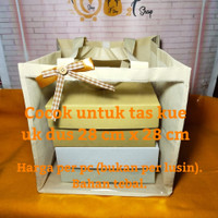 Tas Kain Bingkisan Souvenir Gift Bag Kantong Mika Tenteng Besar Cream