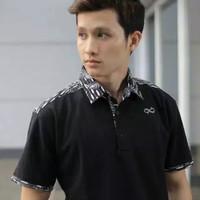 Kemeja Kaos Polo T-shirt Kerah Batik Pria Casual Distro Hitam Alinskie