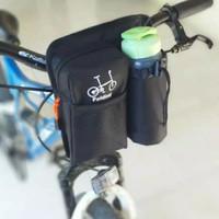 Tas Seli Tas Sepeda Depan Stang Tas Botol Minum + Bonus Rain Cover