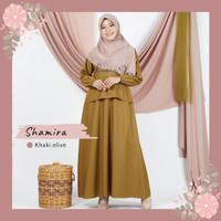 Baju Seragam Dinas Pemda Gamis Shamira Khaki Olive by Luvena