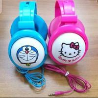 Handsfree / Headset Bando karakter Hello Kitty Doraemon Pink Blue