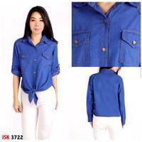 kemeja blouse atasan wanita jsk lengan panjang - Biru Jeans