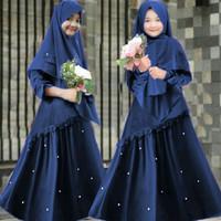 Gamis Syari Anak 8 10 tahun Karisma Navy Baju muslim anak perempuan