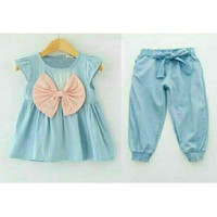 Baju anak perempuan 2-3 tahun Febby Kids Denim Setelan anak perempuan