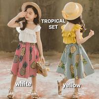 BAJUKIDDIE TROPICAL SET baju setelan anak perempuan import rok kaos
