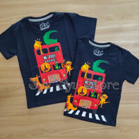 Baju Kaos Atasan Anak Laki Laki Cowok Hewan Animal Bis Zoo Bus Navy - Ukuran Usia 1