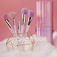 Kuas Make Up Unicorn Set, 10 brush dan case holo cantik