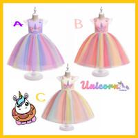 Dress UNICORN Premium FREE BANDO Cantik / Gaun Little Pony Import