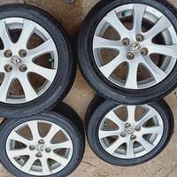 velg OEM Mazda 2 ring 15 pcd 100 ban Dunlop 185/55 R15 kondisi ban 95%