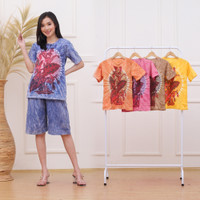 setelan baju tidur wanita,setelan kulot pendek,kulot batik abstrak