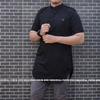 Baju Muslim Pria / Baju Koko Pakistan / Kurta Pria Toyobo - Hitam, M