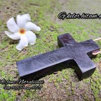 bandul kalung salib galih kelor gandul hitam natural alami