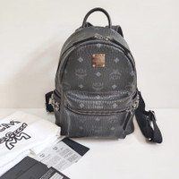 MCM Backpack Black Mini sz comes with card, booklet and dust bag