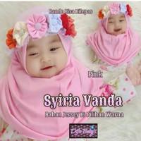 Hijab Bayi Set Bando Bunga - Jilbab Instant Anak Bayi 0-3Th