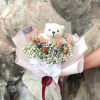 Small Bouquet Baby Breath Mix + teddy