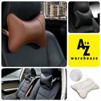 Bantal Leher Mobil Car Headrest Universal Kulit Empuk - Hitam