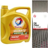 Paket Oli Total Quartz 9000 5w30 Plus Oil Filter Sakura Mobil