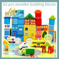 Wooden Building Blocks City 62 Pcs - Balok Susun Bangunan Transportasi