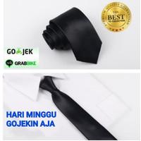 Dasi Panjang Pria/ Polos Satin Slim - Medium - Besar warna hitam