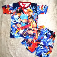 setelan baju anak laki baju karakter boboiboy full print bahan licin