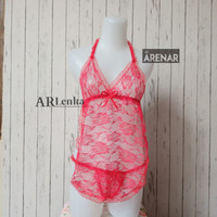 SKA11 Lingerie Merah - Baju Tidur Tipis Transparan Wanita