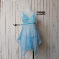 SK2103 Sexy Lingerie Biru Dress - Baju Tidur Tipis Transparan Wanita