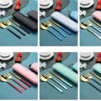Set Sendok garpu sumpit emas travel / Cutlery Set Alat Makan Premium - Hitam