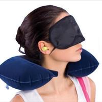 Travel Pillow 3 Set Bantal Leher Udara Tiup + Penutup Mata + Ear Plug - Merah Muda