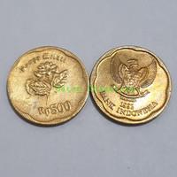 Uang kuno koin 500 bunga melati tahun 1992 kondisi sudah di cuci