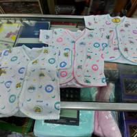 1 lusin/ 12pcs Baju Bayi Kancing Depan Pendek Newborn Katun