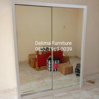 lemari pakaian 2 pintu sliding full cermin duco /lemari duco/hpl