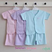 Baju Bayi Setelan Polos Cewek Tangan Pendek Kancing Depan - ARUCHI