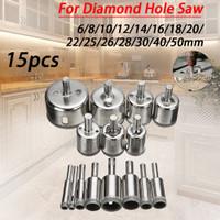 Mata Bor Set Kaca Granit Keramik Marmer Batu Diamond Coated 15 PCS