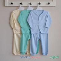Baju Bayi Setelan Polos Cowok Tangan Panjang Kancing Depan - ARUCHI